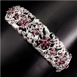 Natural Pink Raspberry Rhodolite Garnet Bangle