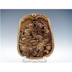 Chinese Jade Mouse Family Steal Treasure Pendant