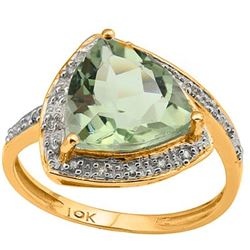 Natural Green Amethyst & Diamond Solid Gold Ring