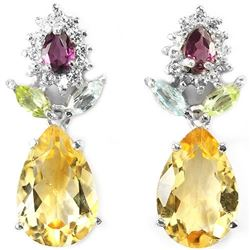 Natural CITRINE TOPAZ PERIDOT RH-GARNET Earrings