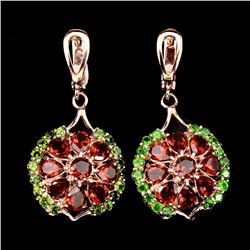 Natural Mozambique Garnet Chrome Diopside Earrings