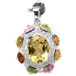 Natural YELLOW CITRINE & Fancy SAPPHIRE Pendant
