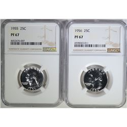 1955 & 56 WASHINGTON QUARTERS, NGC PF-67