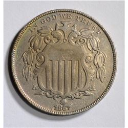 1867 WITH RAYS SHIELD NICKEL, AU