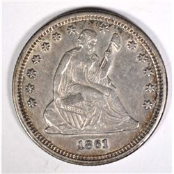 1861 SEATED LIBERTY QUARTER  AU