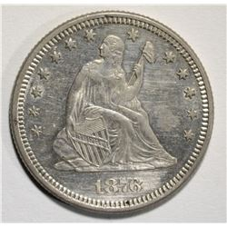 1876 SEATED LIBERTY QUARTER, CH BU SEMI PL