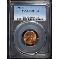 1951-S LINCOLN CENT PCGS MS-67 RD