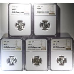 5 - 1945 MERCURY DIMES NGC MS65