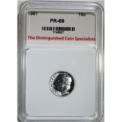 1961 ROOSEVELT DIME TDCS SUPERB GEM