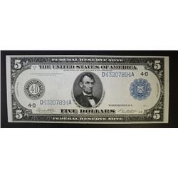 1914 $5 FEDERAL RESERVE NOTE  CH.XF/AU
