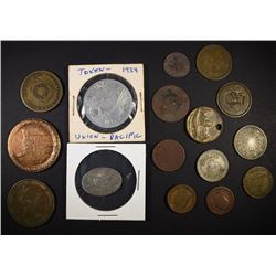 NICE LOT OF 17-TOKENS, MEDALS, MASONIC PENNIES