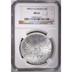 1885 ZS JS MEXICO 8 REALES, NGC MS-61