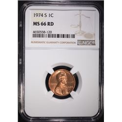 1974-S LINCOLN CENTS NGC MS66 RD