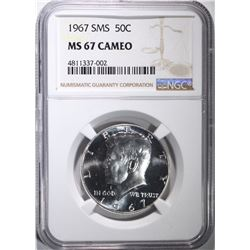 1967 SMS KENNEDY HALF DOLLAR, NGC MS-67 CAMEO
