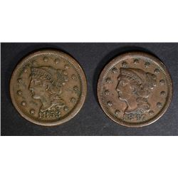 1847 VF & 1853  VF/XF LARGE CENTS