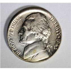1943/2-P JEFFERSON NICKEL ERROR AU