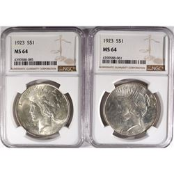 2-1923 PEACE SILVER DOLLARS, NGC MS-64
