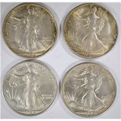 4 - AU/BU 1944-S WALKING LIB HALF DOLLARS
