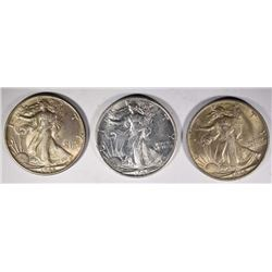 2- 1945-S & 1-1945 WALKING LIBERTY HALVES