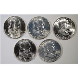 2-1958-D, 61-D & 2-62-D BU FRANKLIN HALVES