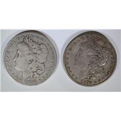 1878 7F VG & 1878-S XF MORGAN DOLLARS