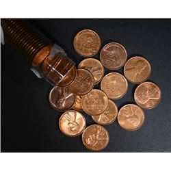 1938-S GEM BU RED LINCOLN CENT ROLL