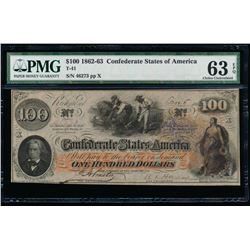 1862-63 $100 Confederate States of American Note PMG 63EPQ