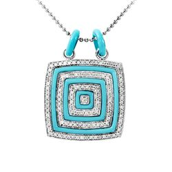 14KT White Gold 3.11ctw Turquoise and Diamond Pendant with Chain
