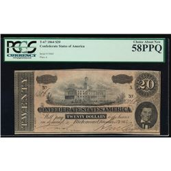 1864 $20 Confederate States of America Note PCGS 58PPQ