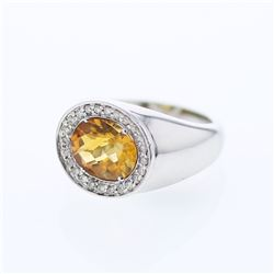 14KT White Gold 3.03ct Citrine and Diamond Ring