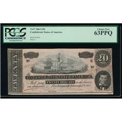 1864 $20 Confederate States of America Note PMG 63PPQ
