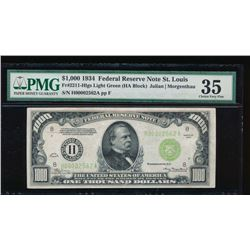 1934 $1000 St. Louis Federal Reserve Note PMG 35