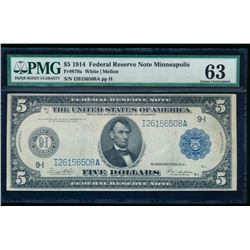 1914 $5 Large Cleveland Federal Reserve Note PMG 63