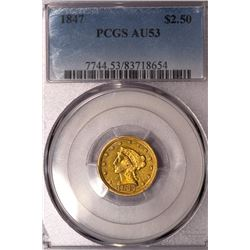 1847 $2 1/2 Liberty Head Quarter Eagle Gold Coin PCGS AU53