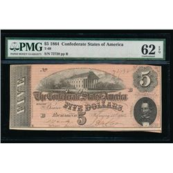 1864 $5 Confederate States of America Note PMG 62EPQ