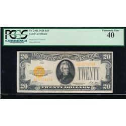 1928 $20 Gold Certificate PCGS 40