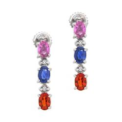 14KT White Gold 3.65ctw Multi Color Sapphire and Diamond Earrings