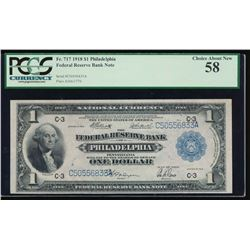 1918 $1 Philadelphia Federal Reserve Bank Note PCGS 58