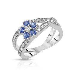 14KT White Gold 0.48ctw Blue Sapphire and Diamond Ring
