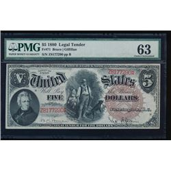 1880 $5 Legal Tender Note PMG 63