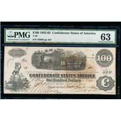 1861 $100 Confederate States of American Note PMG 63