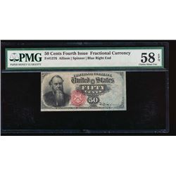 50 Cent Fourth Issue Fractional Note PMG 58EPQ No Serial Number