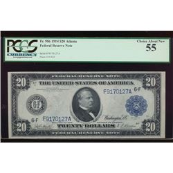 1914 $20 Atlanta Federal Reserve Note PCGS 55