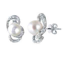 18KT White Gold 11.37ctw Pearl and Diamond Earrings