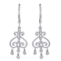 14KT White Gold 0.10ctw Diamond Chandelier Earrings