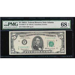 1963A $5 Atlanta Federal Reserve Note PMG 68EPQ