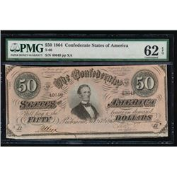 1864 $50 Confederate States of America Note PMG 62EPQ