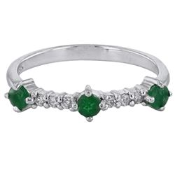 18KT White Gold 0.30ctw Emerald and Diamond Ring