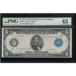 1914 $5 Atlanta Federal Reserve Note PMG 45