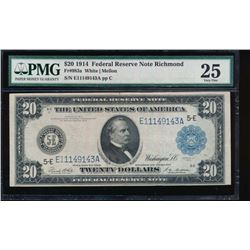1914 $20 Richmond Federal Reserve Note PMG 25